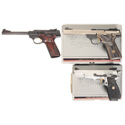 Three Browning Semi-Automatic Pistols with Cases -A) Browning Buck Mark Challenger SE Semi-Automatic