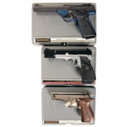Three Browning Semi-Automatic Pistols with Cases -A) Browning Buck Mark Camper Semi-Automatic Pistol