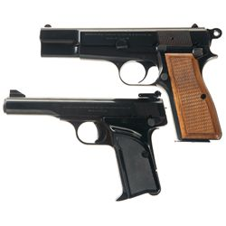 Two Belgian Browning Semi-Automatic Pistols with Soft Cases -A) Browning High Power Semi-Automatic P