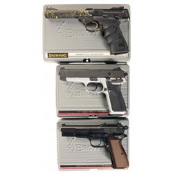 Three Browning Semi-Automatic Pistols with Cases -A) Browning Buck Mark Lite Splash 5.5 URX Semi-Aut
