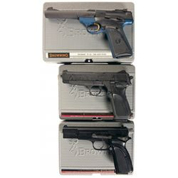 Three Semi-Automatic Browning Pistols with Cases -A) Browning Buck Mark Semi-Automatic Pistol
