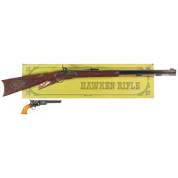 Two Black Powder Replicas and a Grouping of Shotgun Barrels -A) Italian Made Hawken Replica Percussi