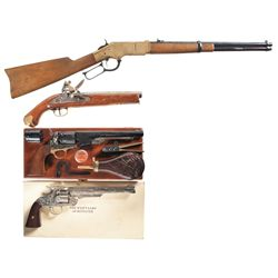 One Lever Action Rifle and Three Hand Guns -A) Uberti Model 1866 Reproduction Lever Action Carbine