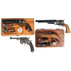 Four Handguns -A) Cased Contemporary Italian Percussion Revolver with Accessories