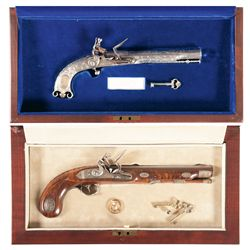 Two Cased U.S. Historical Society Commemorative Flintlock Pistols -A) U.S. Historical Society Pitcai