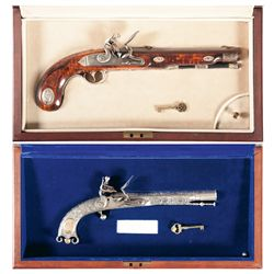 Two Cased Commemorative Flintlock Pistols -A) Cased U.S. Historical Society Andrew Jackson Commemora