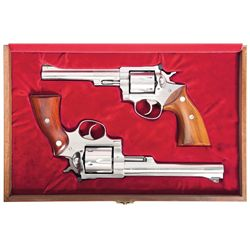 Cased Pair of Ruger Police Marksman Association Limited Edition Revolvers -A) Ruger Redhawk Double A