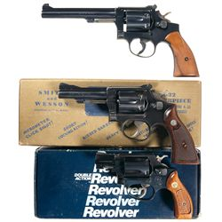 Three Smith & Wesson Double Action Revolvers -A) Smith & Wesson K-22 Double Action Revolver