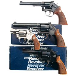 Four Smith & Wesson Double Action Revolvers -A) Smith & Wesson Model 17 Double Action Revolver
