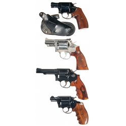 Four Double Action Revolvers -A) Smith & Wesson Model 37 Airweight Double Action Revolver with Holst