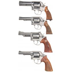 Four Stainless Smith & Wesson Double Action Revolvers -A) Smith & Wesson Model 681 Double Action Rev