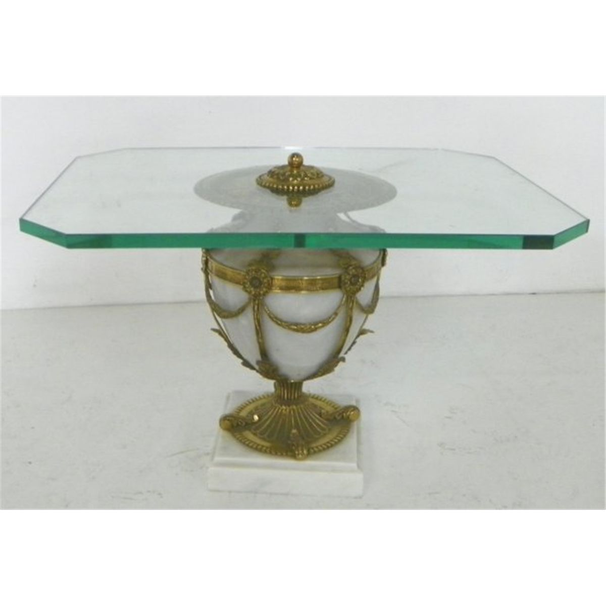 Coffee Table Bases For Marble Tops: Glass Top Brass & Marble Urn Base Coffee Table