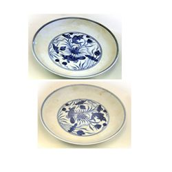 Pair Guangxu blue & white porcelain dishes