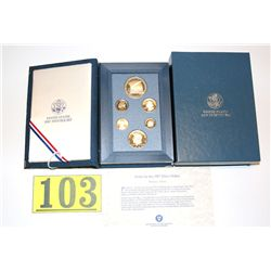 1987 PROOF PRESTIGE SET WITH US CONSTITUTION COINS IN VELOUR DISPLAY;  SAN FRANCISCO MINT  ESTIMATE