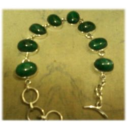 Emerald Gemstone in Silver Bracelet