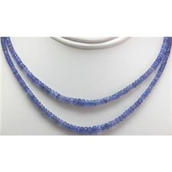 Natural AA 2Row Tanzanite Micro Faceted Rondelles Graduated Necklace Gemstone 133.90ctw brass clasp