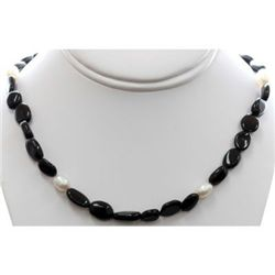 Natural Black Tourmaline and Pearl Beads Necklace with clasp