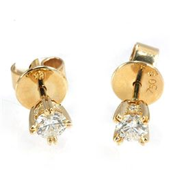 Genuine 0.495 ctw Diamond Stud Earring 18kt Gold- Yellow