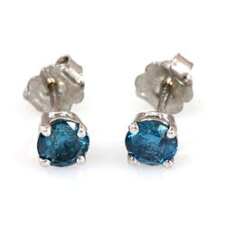 Genuine 0.90 ctw Blue Diamond Stud Earring 14kt Enhanced, SI-I W/Y Gold 14kt 1.12g