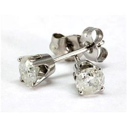 0.75 ctw Round cut Diamond Stud Earrings, G-H, SI-I, (push back)