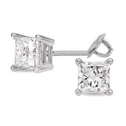 3.00 ctw Princess cut Diamond Stud Earrings G-H, SI2