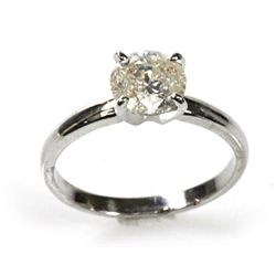 Certified 1.50 ctw Solitaire Ring Round Brilliant J/I1/I2 , 2.6g 14kt W Gold, Appraised $10,479.00