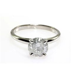 Solitaire Ring Round Diamond 1.72ctw 14k White Gold 2.20 grams
