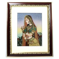Indian Beauty 1 Art Craft Gemstone Painting Dim. 12x10""