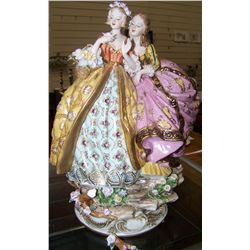 Vintage Meissen Depicting Two Young Ladies Admiring a Flower.