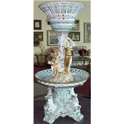 Porcelain Fountain Depicting Three Graces.