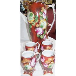 Five Pc. Vintage Hand-Painted Floral Pitcher & Cups.