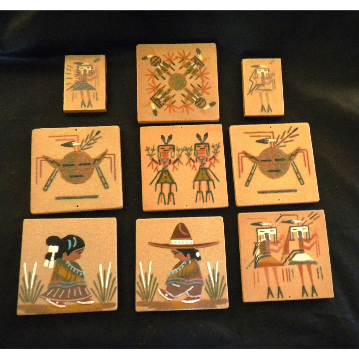 Group Of 9 Authentic Navajo Sand Paintings