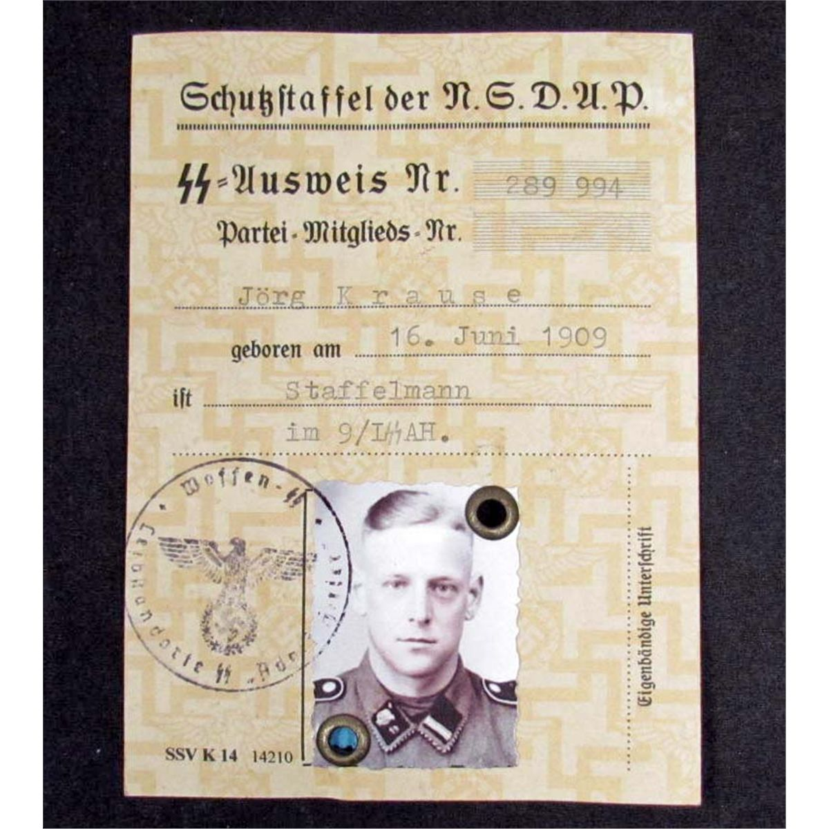 GERMAN NAZI SS AUSWEIS ID W/ PHOTO