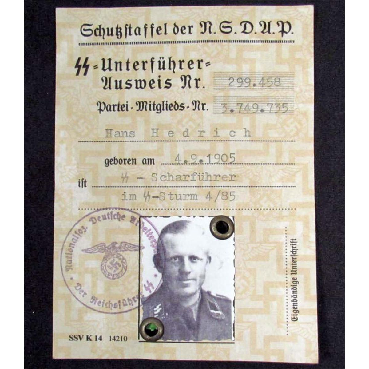 GERMAN NAZI SS NSDAP AUSWEIS ID W/ PHOTO