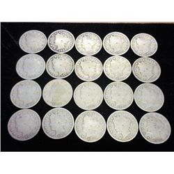 "20 ASSORTED LIBERTY ""V"" NICKELS"