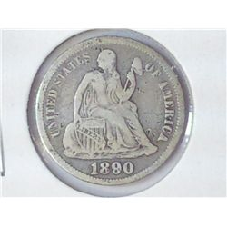 1890 SEATED LIBERTY DIME (FINE)