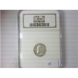 1958 SILVER ROOSEVELT DIME NGC PF67