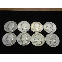 8 ASSORTED 40'S WASHINGTON SILVER QUARTERS