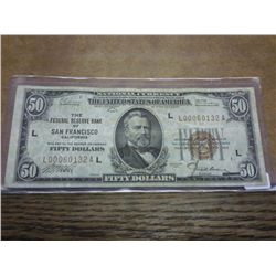 1929 $50 NATIONAL CURRENCY SAN FRANSICO