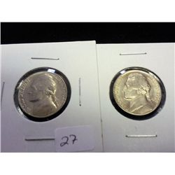 1946-S & 54 JEFFERSON NICKELS (UNC)