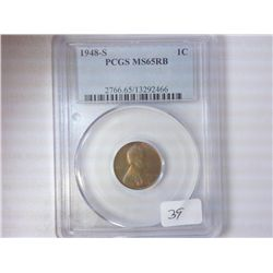 1948-S LINCOLN CENT PCGS MS65 RB