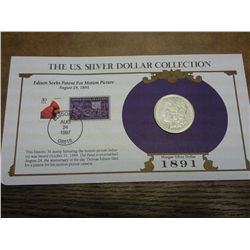 1891 MORGAN SILVER DOLLAR AND STAMP SET