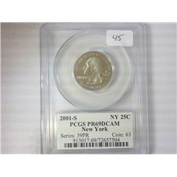 2001-S NEW YORK QUARTER PCGS PR69 DCAM