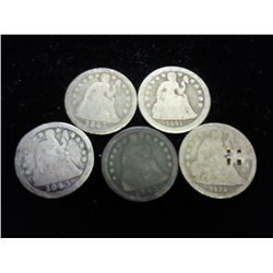 5-ASSORTED 30'S & 40'S SEATED LIBERTY DIMES