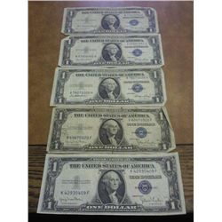 5 ASSORTED 1935 $1 SILVER CERTIFICATES