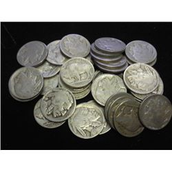 ROLL OF 40 ASSORTED BUFFALO NICKELS (AG-GOOD)