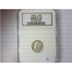 1964 SILVER ROOSEVELT DIME NGC PF67 CAMEO