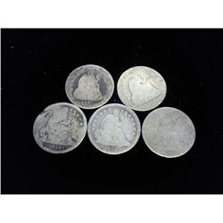 5 ASSORTED SEATED LIBERTY DIMES (30'S & 40'S)