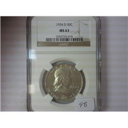 1954-D FRANKLIN HALF DOLLAR NGC MS63
