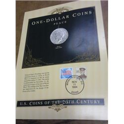 1923 PEACE SILVER DOLLAR AND STAMP SET
